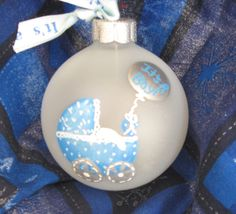 Hand painted baby boy Christmas ornament with personalization available.. $11.00, via Etsy.