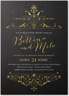 signatur custom, weddings, wedding invitations, black gold, diva, bridal shower invitations, wedding invitation design, bridal showers, wedding papers