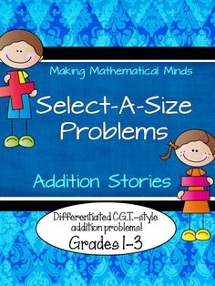 My latest product!  Are you familiar with CGI math?  This researched math problem solving method is so thorough that the writers of the CCSS incorporated it into the grade 1-4 core!  This resource provides you materials to teach the 6 different addition story types--and is fully differentiated!  $