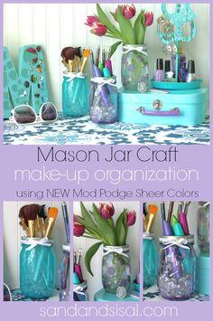 Mason Jar Craft: Make-up organization using Mod Podge Sheer Colors. Click thru for full tutorial. #modpodge #plaidcrafts #organization