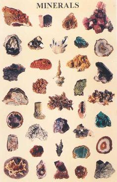 crystals, charts, magic, rock collection, school posters, stone, random stuff, rocks, minerals