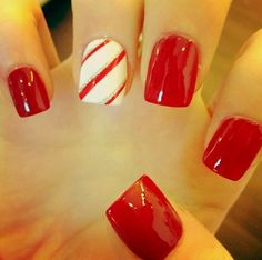 Nail designs for Christmas....would throw some green in there with the white and red