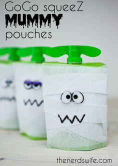 GoGo squeeZ Mummy Pouches are an easy and fun Halloween snack to give out as a healthy alternative to candy!