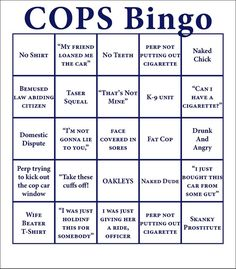 drinking games, stuff, cop bingo, cops bingo, watch cop, night shift, date nights, saturday night, family game night