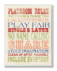 Playroom Rules Typography Wall Plaque, Wall Plaques, Art for Children