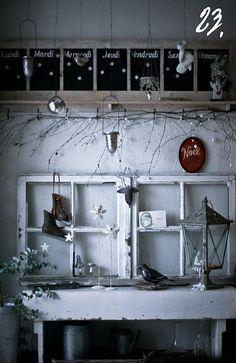 opal rings, vignett, wall decorations, advent calendars, old windows, chalkboard, decor idea, christma, the holiday