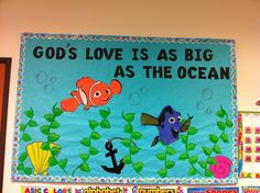 Summer bulletin board/Gods love just use star fish and crabs and fish