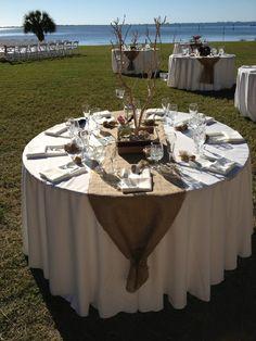 Cute decor, burlap runner, galleri, florida, reception ideas, fall weddings, fall burlap wedding, reception tables, outdoor receptions
