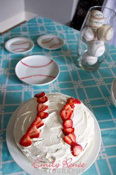 birthday parti, strawberri basebal, baseball cakes, basebal parti, baseball birthday decorations, basebal cake, baseball cake strawberry, birthday cakes, basebal birthday