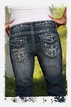 Believe & It's Possible Capri by Cowgirl Tuff Company    Dark wash with extensive sanding. Thick stitching throughout. Embroidery on waistband and on back flap pockets. Great women's jean for many different sizes.http://www.cowgirltuffco.com/