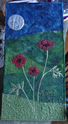 Stitched and painted landscape quilt by Joey - first attempt