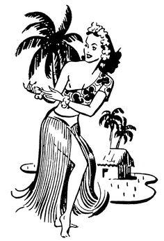 Retro Clip Art - Hawaiian Ladies - Dancers