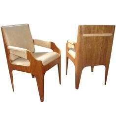 Rare Pair Of Molded Plywood Chairs From The SS Canberra