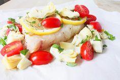 Excellent detox dish: Artichoke Tomato Halibut en Papillote