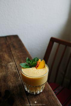 Mango, blood orange and banana smoothie