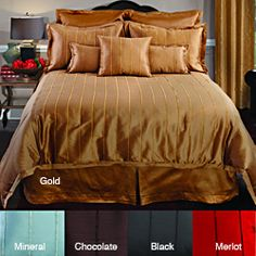 @Overstock.com - Dress your bed in elegant luxury with this faux-silk four-piece comforter set with chenille trim from Veratex. The set includes everything you'll need to enhance your bedding in style, and comes in five colors for easy matching with your current design.http://www.overstock.com/Bedding-Bath/Veratex-Braxton-4-piece-Comforter-Set/6818172/product.html?CID=214117 $94.99