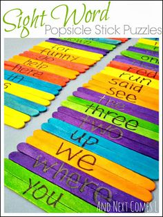 Sight Word Popsicle Stick Puzzles - here's an idea we haven't tried yet