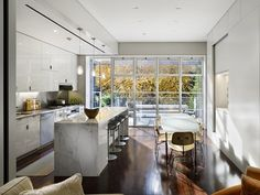 white kitchen cabinets, glass doors, architects, window, glass walls, kitchen layouts, minimalist style, marbl, white kitchens