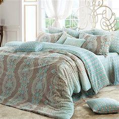 Tiffany Blue & Cocoa Microfiber 4 pcs Duvet Cover Set