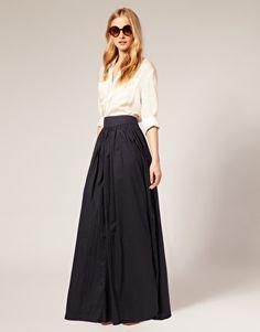 chloe sunglasses. neiman marcus beige oversized silk shirt. black silk couture ballgown skirt. CS for payless black flats.