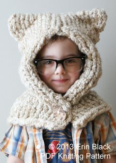 Knitting PATTERN - Chunky Kitty Hood in Toddler, Child and Adult Sizes (hat011) on Etsy, $5.86