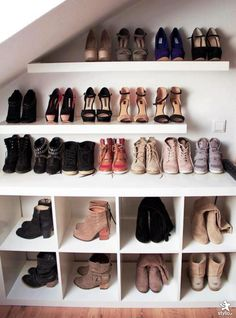 Good idea for dealing with a slanted roof! shoes, shoe rack, closets, dream, shoe display, shoe closet, shoe organization, shelv, shoe storage