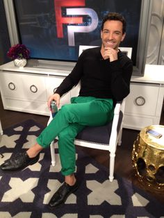 What George Kotsiopoulos wore on April 13.   SWEATER: Theory  TROUSERS: H  SHOES: Black Fleece by Brooks Brothers