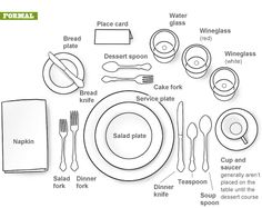 formal table setting decor, table settings, table place settings, dinner parties, breads, proper set, dinner tables, dinner party main course, tabl set