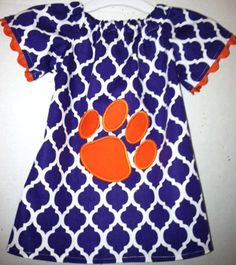 Clemson inspired,  peasant style dress with paw print logo on Etsy, $35.00