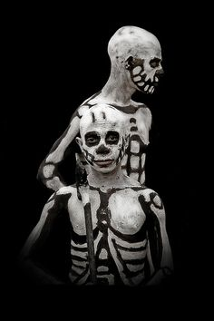 Chimbu tribe painted in traditional skeleton design. Western Highlands, Papua New Guinea