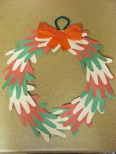 Handprint Christmas Wreath - make a chain of hands instead to represent family for the chapter