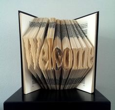 WELCOME Folded Book Art Hand crafted decoration by Bookfolding, $99.99