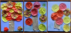 Cupcake Liner Fall Trees - - pinned by @PediaStaff – Please Visit ht.ly/63sNtfor all our pediatric therapy pins