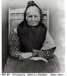 """Elizabeth """"Betsy"""" Brown Stephens. Cherokee Indian who walked the Trail of Tears. 1903."""