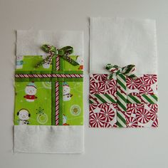 Christmas towels. I never like the ones in the stores. by Marci Girl Designs