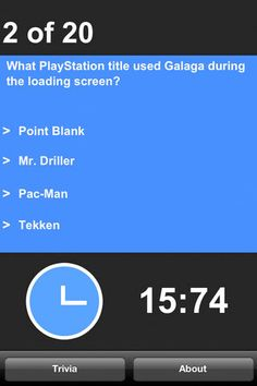 VideoGame Toribia (trivia) sample question screenshot From Leonard Herman's iOS app.