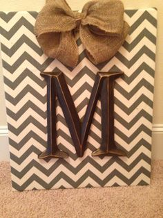 Personalized Fabric Initial Canvas Wall Art Wall Hanging Grey Chevron Decor Burlap