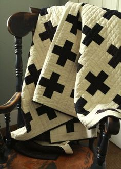 Black and White Cross Quilt