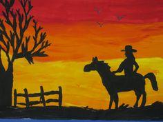 """sunset silhouette painting; 12""""X18""""; art teacher: Susan Joe"""