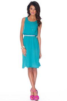 Coastal Breezy Tank Dress in Turquoise $30 at www.tobi.com