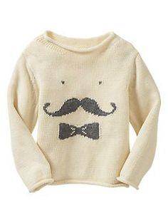Intarsia mustache sweater | Gap