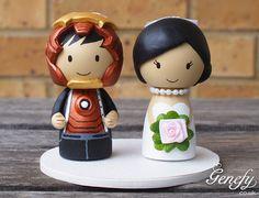 Cute superhero wedding cake topper  Bride and by GenefyPlayground