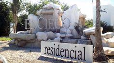 Main entrance from the highway. El Cielo Residencial. Playa del Carmen real estate.