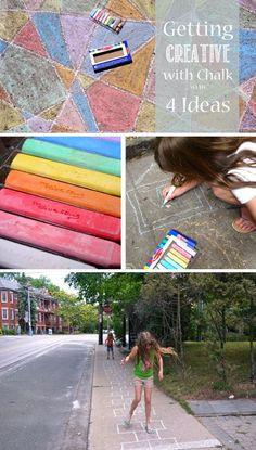 Getting creative with sidewalk chalk *awesome list of ideas
