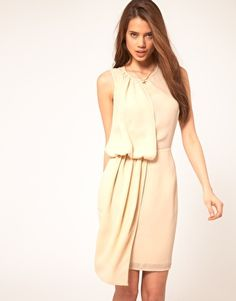 crepe dress with drape