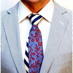 Red Paisley & Ny/Wh Stripe Tie