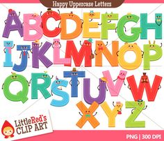 Happy Uppercase Letters Combo Set - includes punctuation - color clip art and digital stamps -  for personal and commercial use. $5.00, via Etsy.