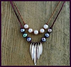 Catch the wave with this Leather and Pearl Necklace. FREE how-to Video at http://www.ninadesigns.com/jewelry_design_ideas/double_knotted_pearl_necklace.html