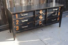 black numeral dresser with rope drawer pulls