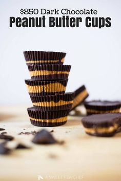 3-Ingredient Dark Chocolate Peanut Butter Cups | Interested in how to make homemade peanut butter cups?  This easy Dark Chocolate Peanut Butter Cup recipe only requires 3 ingredients and about less than an hour plus it's paleo, clean eating, vegan, refined sugar-free, and gluten-free! | A Sweet Pea Chef #chocolatepeanutbuttercups #peanutbuttercups